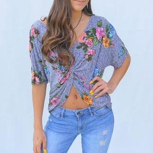 Other - Check floral print top with v neck and open back